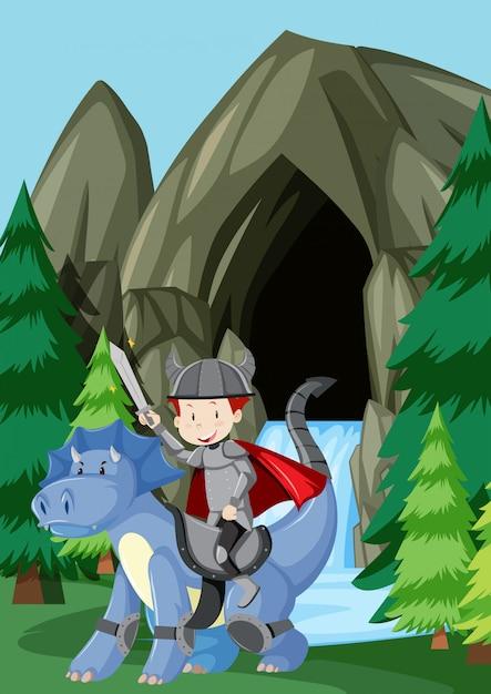 Un prince chevauchant un dragon dans la nature Vecteur gratuit