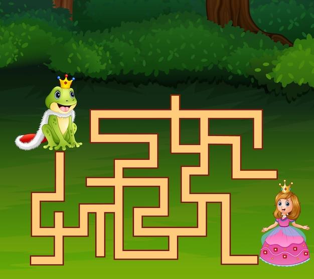 Prince grenouille jeu labyrinthe trouver le chemin de la princesse Vecteur Premium