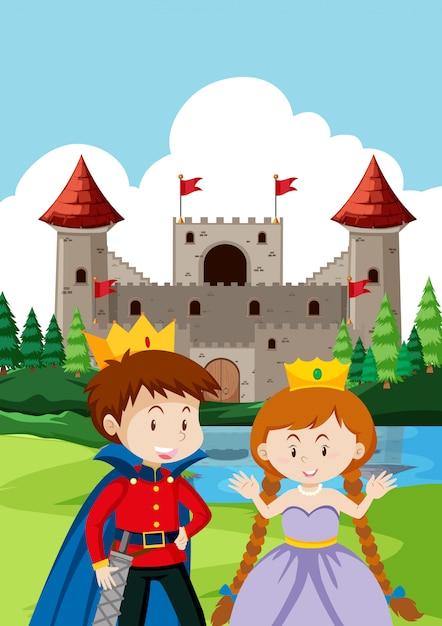 Prince et princes au château Vecteur Premium