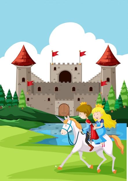 Prince et princes à cheval Vecteur Premium