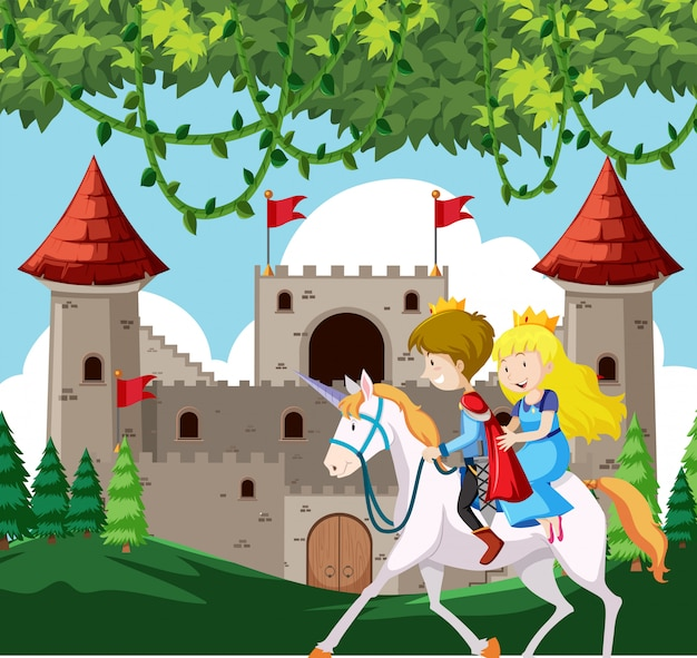Prince et princesse à cheval Vecteur Premium