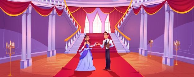 Prince Et Princesse Dans La Salle Du Château Royal Vecteur gratuit