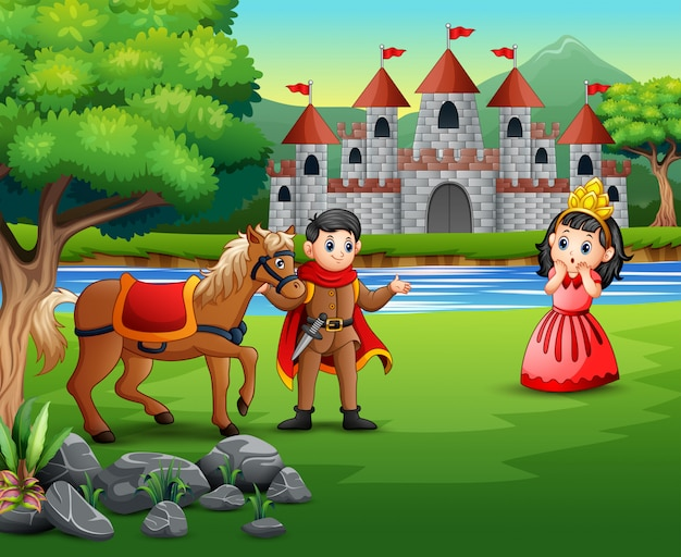 Prince et princesse du dessin animé avec fond de château Vecteur Premium
