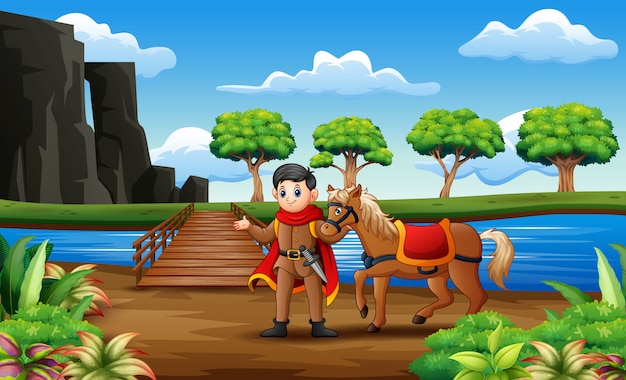 Un prince et son cheval sur le pont en bois Vecteur Premium