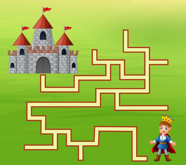 Le prince trouve le chemin du château Vecteur Premium