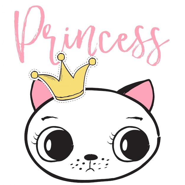 Princess Cat Backround Vecteur Premium