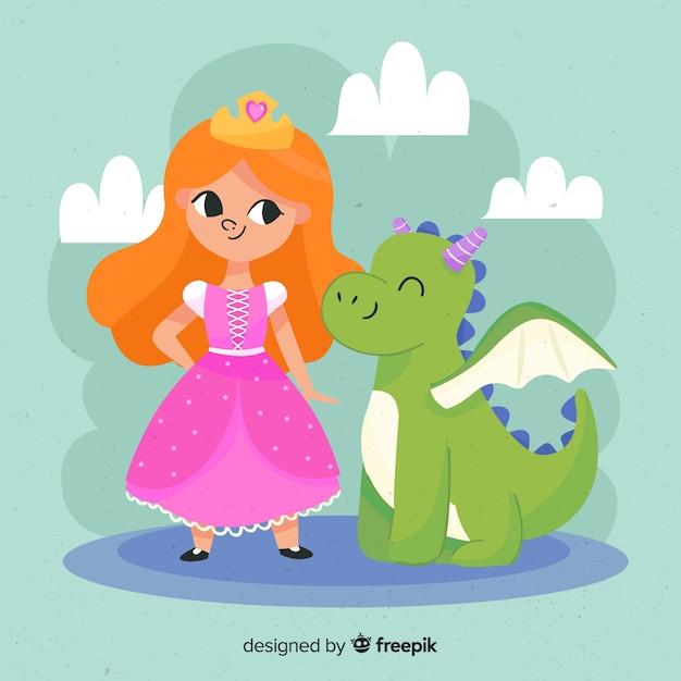 Princesse au gingembre dessiné à la main avec portrait de dragon Vecteur gratuit