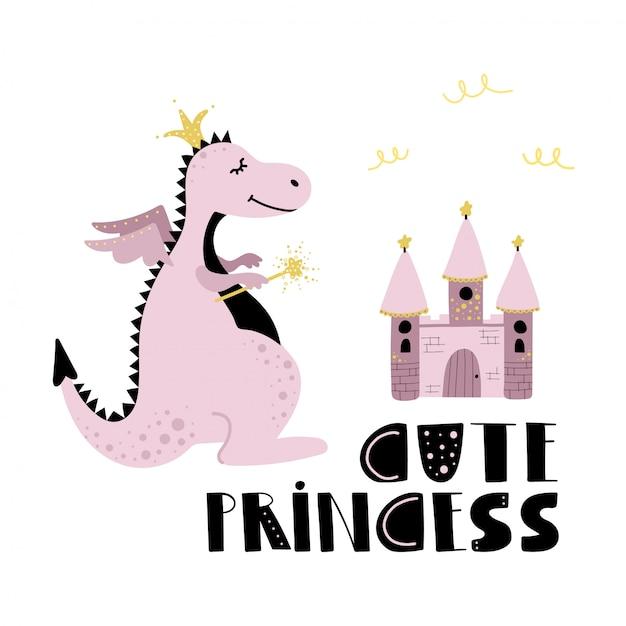 Princesse et château de dragon rose mignon. Vecteur Premium