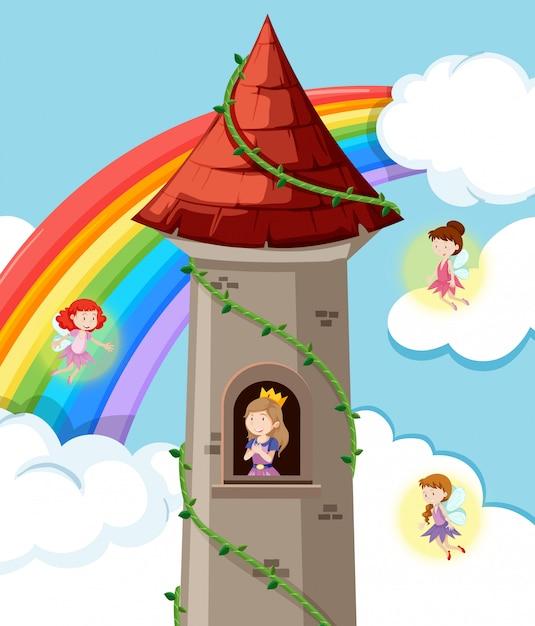 Princesse sur le chateau Vecteur gratuit