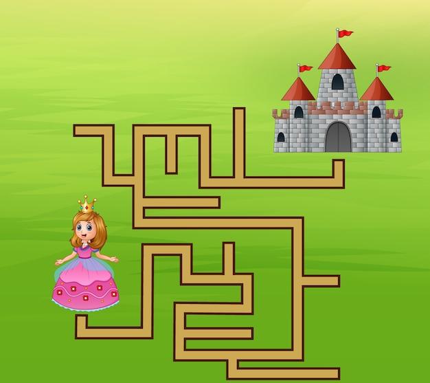 La princesse cherche le chemin du château Vecteur Premium