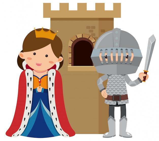 Princesse et chevalier au château Vecteur Premium