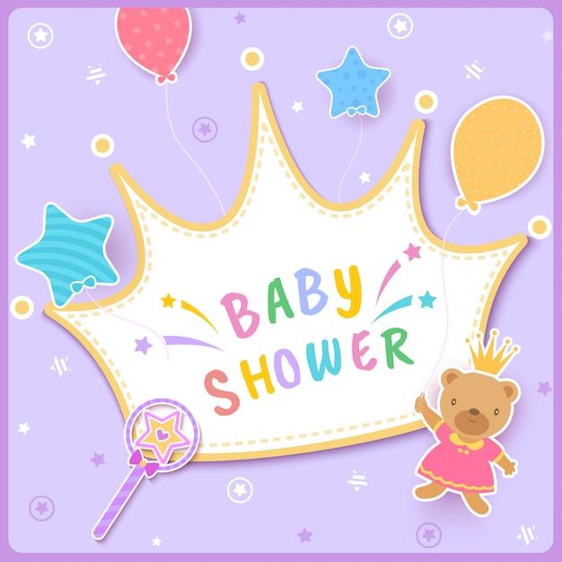 Princesse-couronne-bébé-douche-ours Vecteur Premium