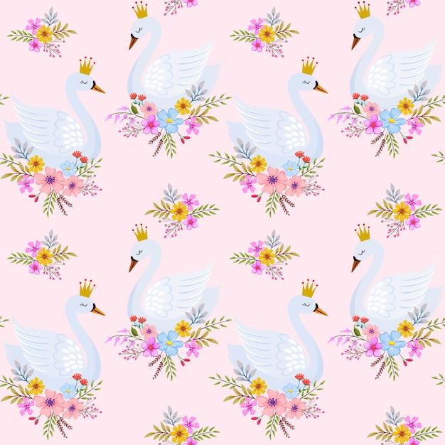 Princesse de cygne mignon avec motif sans soudure de fleurs. Vecteur Premium
