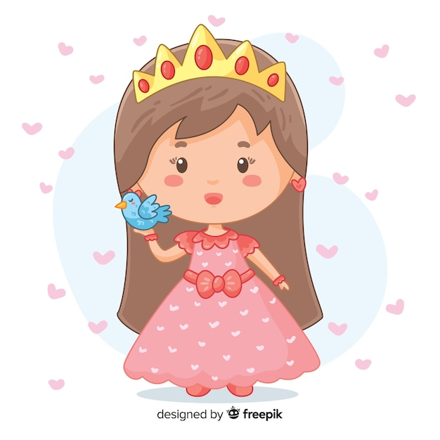 Princesse dessinée à la main avec oiseau Vecteur gratuit