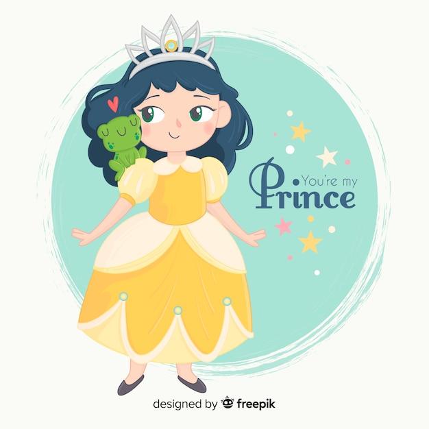 Princesse dessinée à la main avec une robe jaune Vecteur gratuit