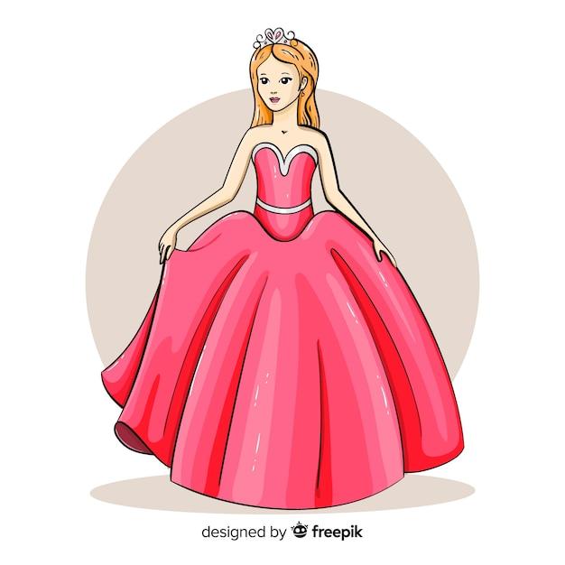 Princesse Dessinee A La Main Avec Une Robe Rose Vecteur Gratuite