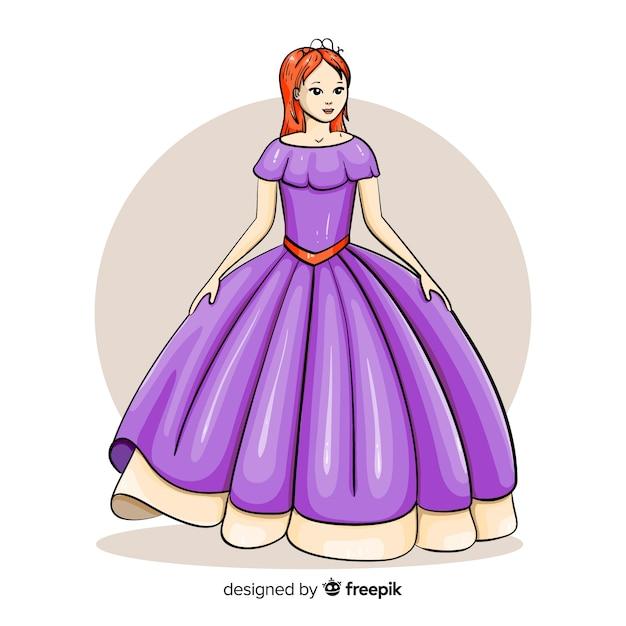 Princesse dessinée à la main avec une robe violette Vecteur gratuit