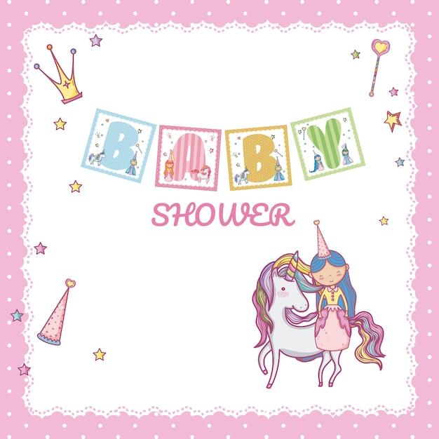 Princesse de douche de bébé Vecteur Premium