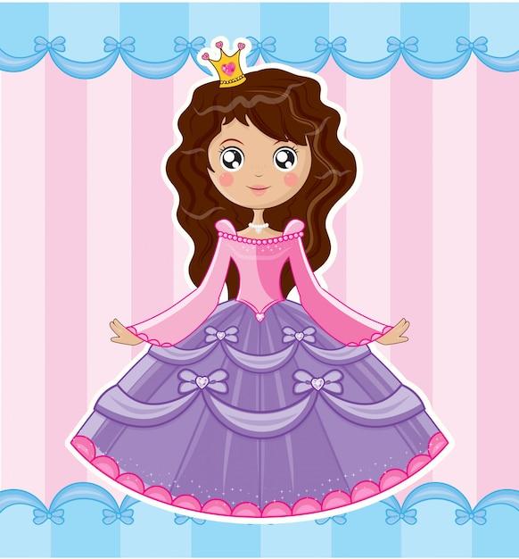 Princesse girly Vecteur Premium