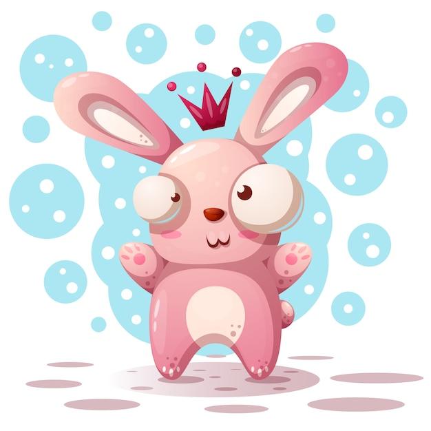 Princesse de lapin mignon - illustration de dessin animé. Vecteur Premium