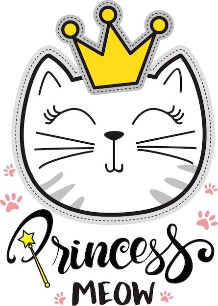Princesse miaou, vecteur d'illustration de chat mignon pour les enfants, t-shirt et habillements Vecteur Premium