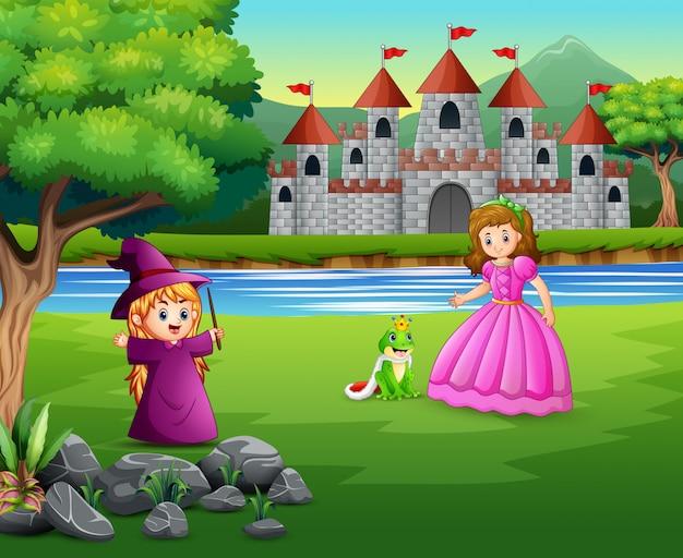 Princesse, petite sorcière et prince grenouille sur la nature Vecteur Premium