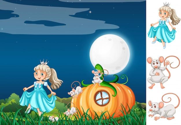 Princesse avec souris la nuit Vecteur gratuit