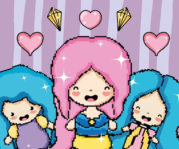 Princesses Dart Pixel Avec Des Cœurs Et Des Diamants