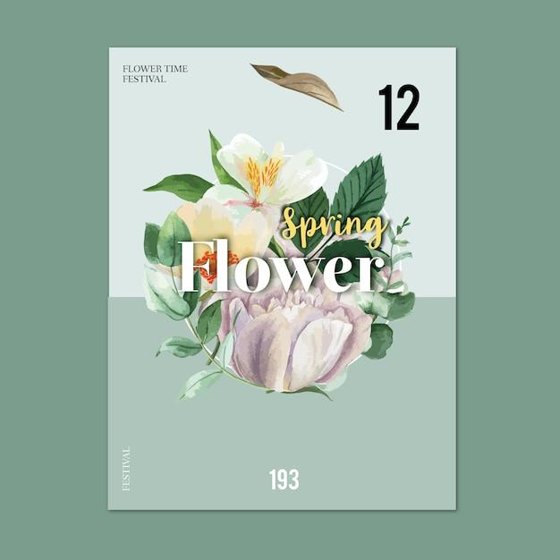 Printemps affiche des fleurs fraîches, carte de décor avec jardin coloré floral, mariage, invitation Vecteur gratuit