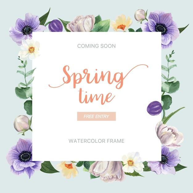 Printemps guirlande cadre fleurs fraîches, carte de décor avec jardin coloré floral, mariage, invitation Vecteur gratuit