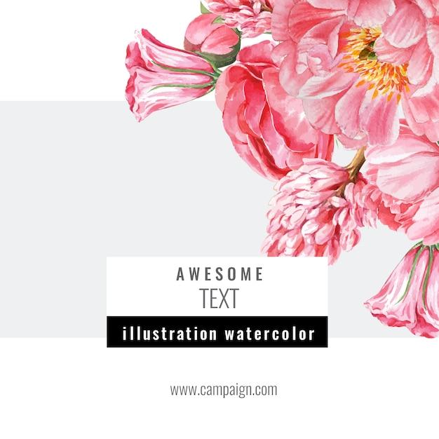 Printemps médias sociaux cadre fleurs fraîches, carte de décor avec jardin coloré floral, mariage, invitation Vecteur gratuit