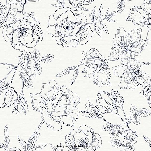 Printemps roses motif Vecteur gratuit