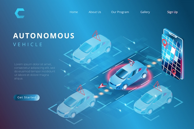 Printillustration Of Smart Car With Autonomous Automation System, Iot System Control In Someric 3d Style Vecteur Premium