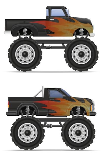 Prise en charge des camions monstres. Vecteur Premium