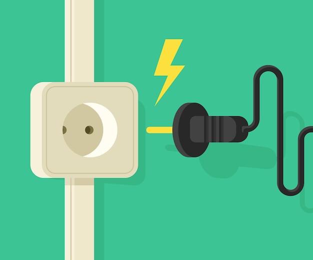 Prise électrique avec prise électrique. bannière cartoo sur la sécurité électro Vecteur Premium