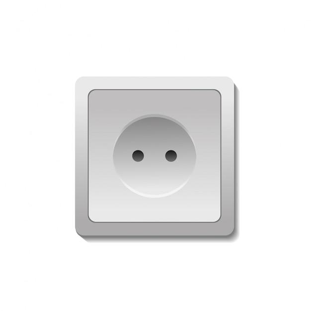 Prise électrique Réaliste Sur Fond Blanc. Vecteur Premium