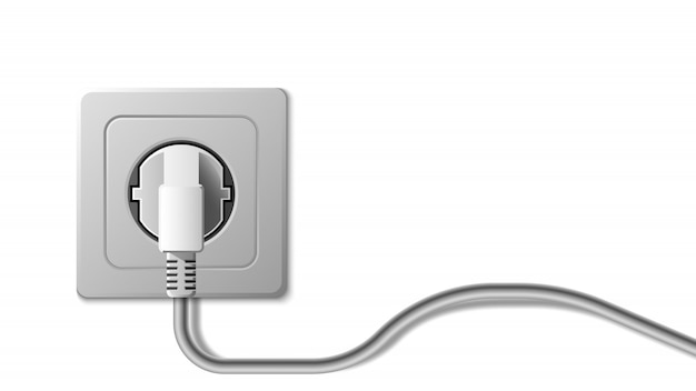 Prise électrique Réaliste Et Prise Sur Fond Blanc Vecteur Premium