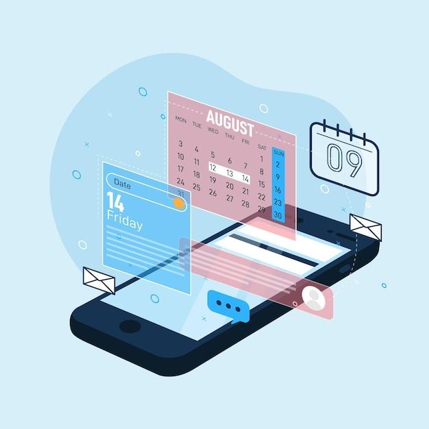 Prise De Rendez-vous Avec Smartphone Vecteur Premium