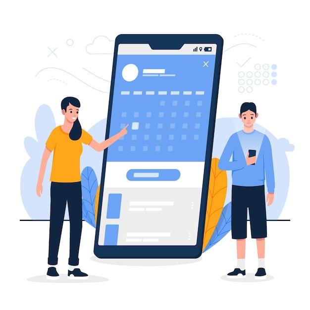 Prise De Rendez-vous Sur Téléphone Portable Vecteur gratuit