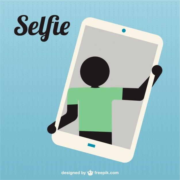 Prise de silhouette selfie icône Vecteur gratuit