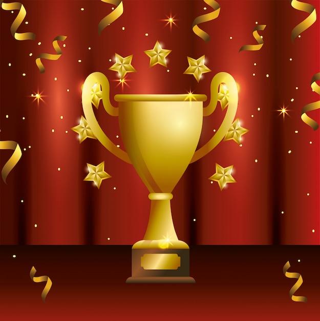 Prix de la coupe avec célébration des étoiles et des confettis Vecteur Premium