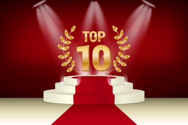 Prix Du Meilleur Podium Du Top 10 D'or Vecteur gratuit