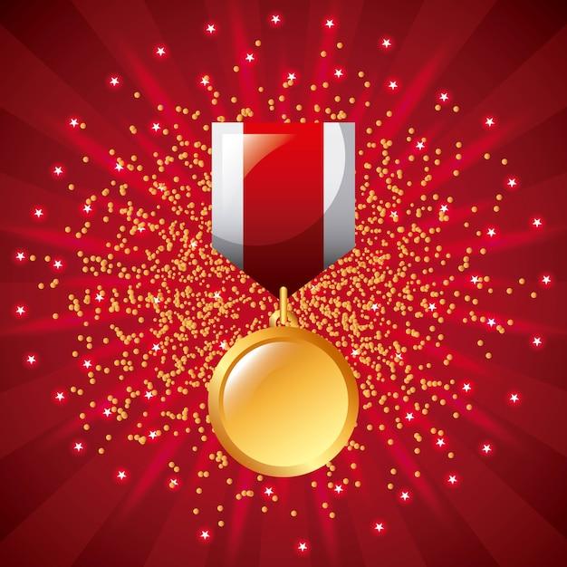 Prix de la médaille d'or prix gagnant ruban étoilé Vecteur Premium