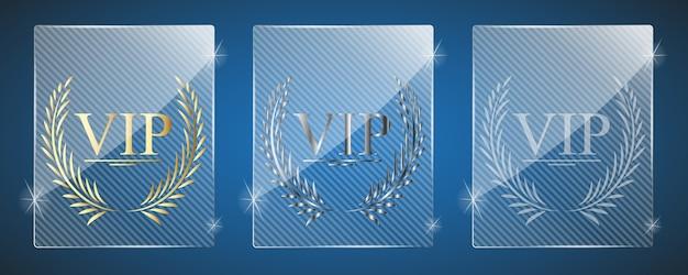 Prix Vip En Verre. Illustration. Trois Variantes. Vecteur Premium