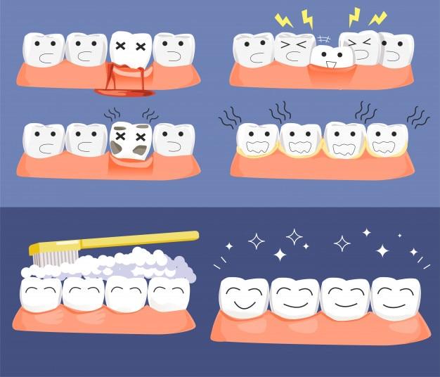 Problème de maladie dentaire Vecteur Premium
