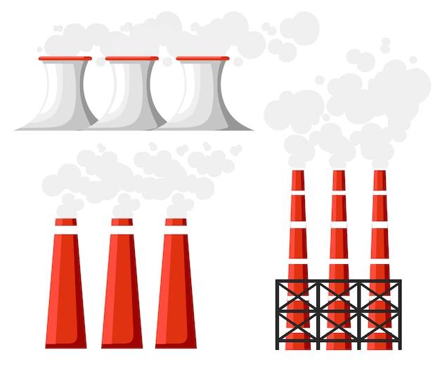 Problème De Pollution De L'environnement. Ensemble De Tuyaux De Fumée D'usine. Usine De Terre Polluent Avec Du Gaz Carbonique. Illustration. Illustration Vecteur Premium