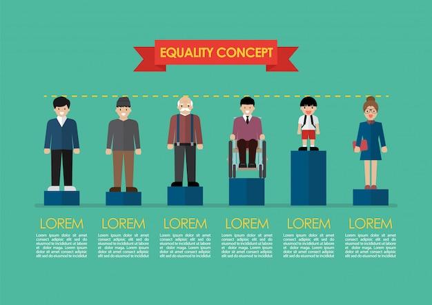 Problème social concept d'égalité infographique Vecteur Premium