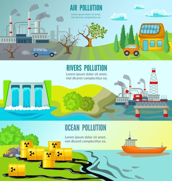 Problèmes écologiques Bannières Horizontales Vecteur gratuit