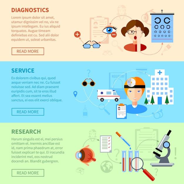 Problèmes de vue bannières horizontales avec service de diagnostic et symboles de recherche Vecteur gratuit