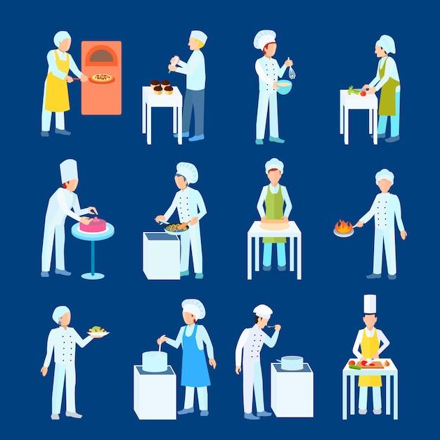 Le procédé de cuisson des chefs et des pâtisseries consiste à couper le feu et à mélanger les caractères Vecteur gratuit